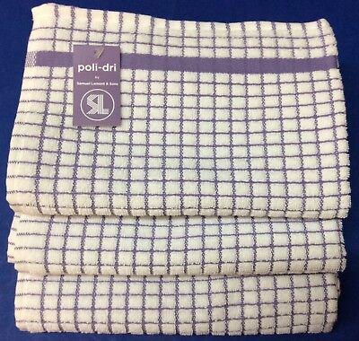 Sam Lamont Poli-Dri Kitchen Towels White//Khaki 1,2 or 3 pc 100/% Cotton FREE SHIP