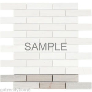 White Oak Gray Marble Stone Mosaic Tile Texture Blend Stacked Wall Backsplash