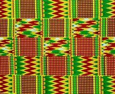 African Fabric 12 Yard Cotton Wax Print GREEN BLUE Fuchsia Abstract Waves BTHY