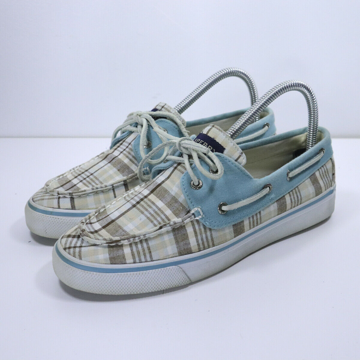 Sperry Top Sider Slip On Boat Shoe Womens Size 8 J8-CH171 White Blue Gray
