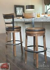 Bar Height Swivel Stool Back Tall Kitchen High Chair Wood Seat Dining Room  Brown