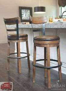 Image Is Loading Bar Height Swivel Stool Back Tall Kitchen High
