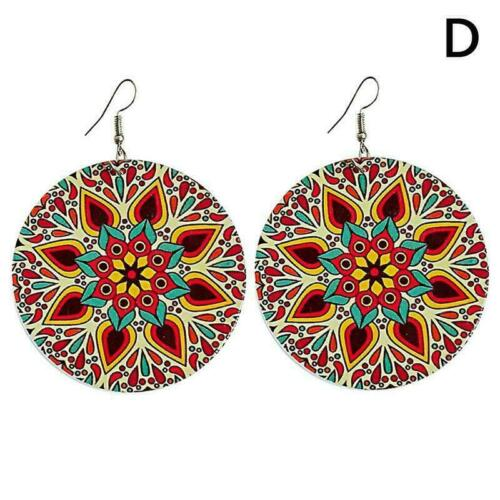 Wooden Round Flowers Earrings Colorful Stud Dangle Drop Style Ethnic New Je Q3J4