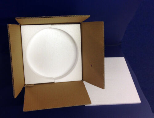 """10 SETS OF POSTAL PACKAGING FOR 8/"""" PLATES POLYSTYRENE FOAM AND CARDBOARD BOX"""
