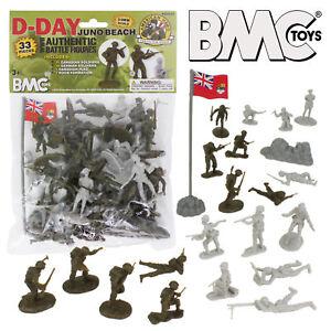 BMC WWII D-DAY Juno Beach Plastic Army Men 33 Canada German 1/32 Toy Figures