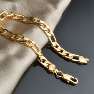 Women-039-s-Men-039-s-Bracelet-18K-Yellow-Gold-Filled-Chain-8-034-Link-Fashion-Jewelry