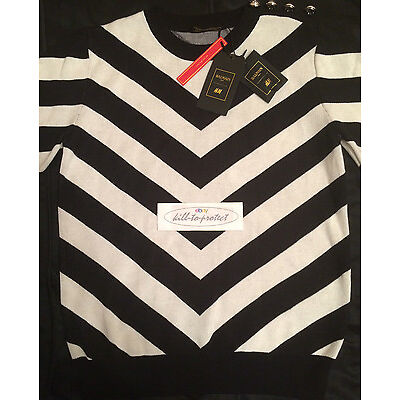 BALMAIN x H&M JACQUARD KNIT JUMPER Sz XS S M L Cotton Black Jacket 2015