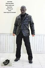 FT003 1/6 Clothing - Black Leather Men Suit Full Set -Fit HOT TOYS,TTL Body