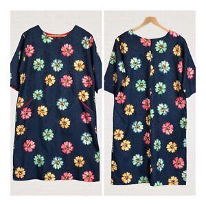 Aliz-Tunic-Dress-Navy-Floral-Short-Sleeves-Front-Pockets-Size-46-UK16-Smart-Work