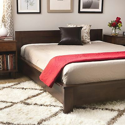 Dark Brown Wood King Size Platform Bed Frame W Headboard Slats