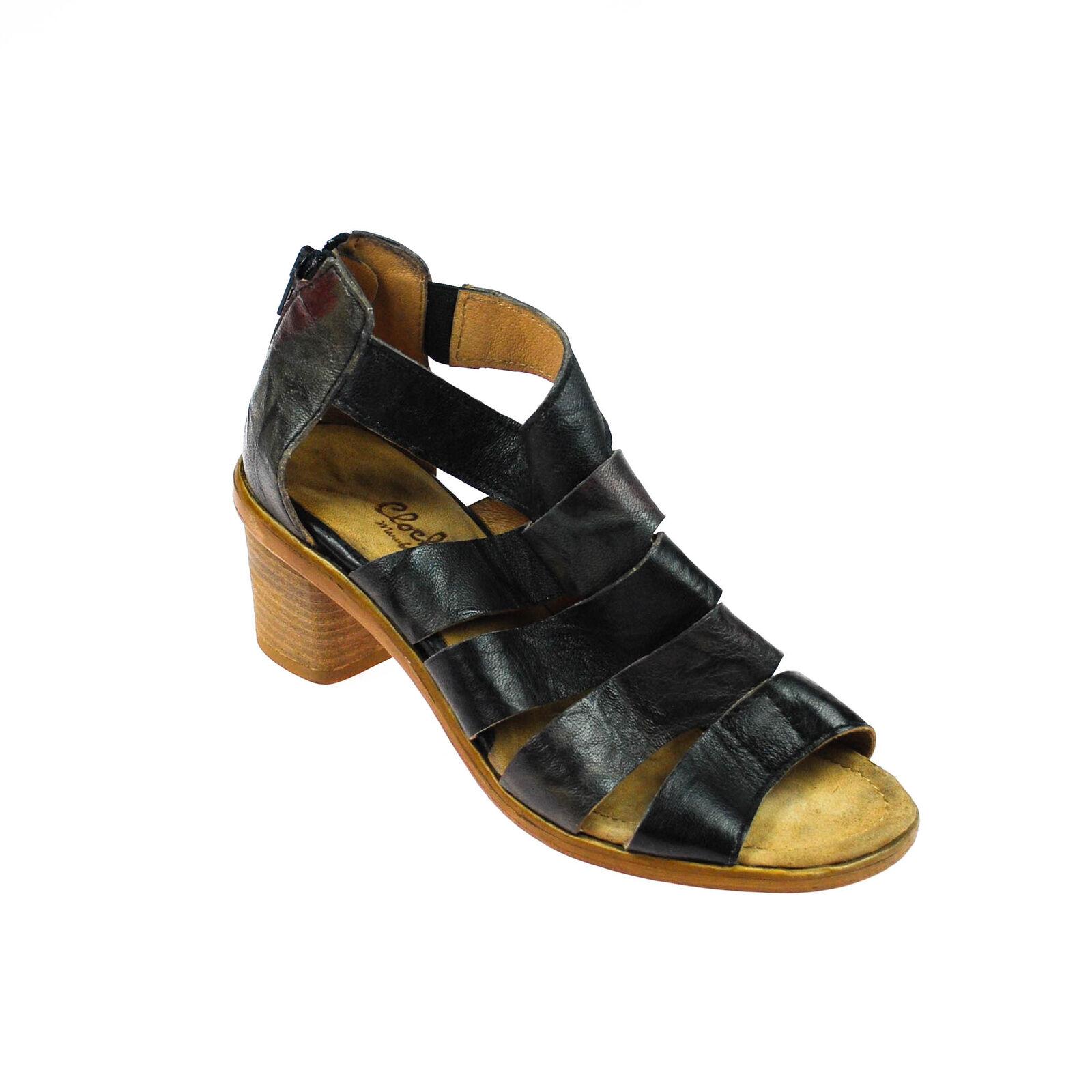 Fascino Sandalo Da Donna Scarpe Basse Aperta in Pelle Marronee Scuro Marronee Grigio Misura 37