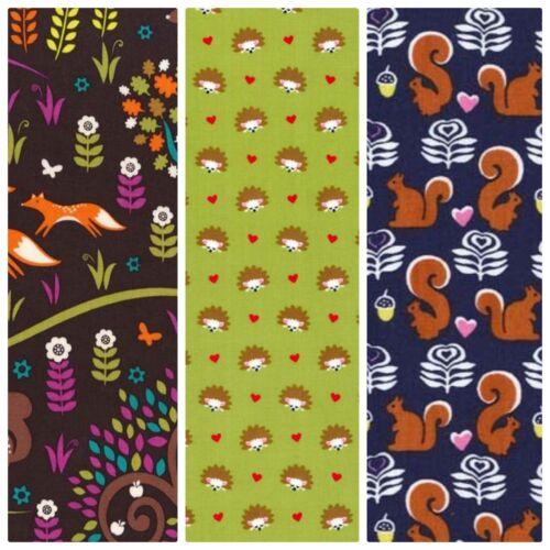Michael miller tissu de coton fox woods hérissons écureuils quilting clothing