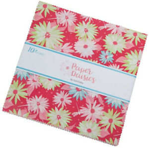 Riley-Blake-Paper-Daisies-10-034-Stacker-Fabric-Quilt-Squares-10-8880-42-B05