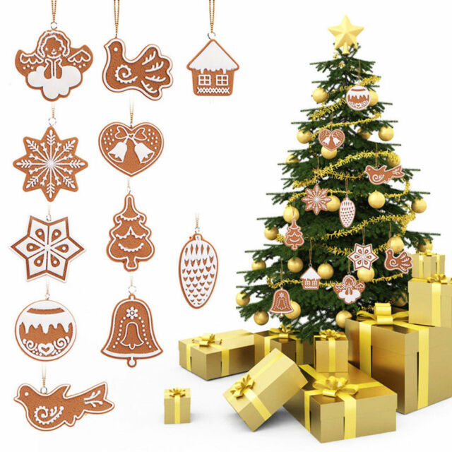 11pcs clay christmas tree hanging ornaments snowflake bell xmas party decors - Christmas Tree Bell Decoration