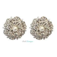 Vintage Style Flower Silver Crystal Diamante & Pearl Stud Earrings