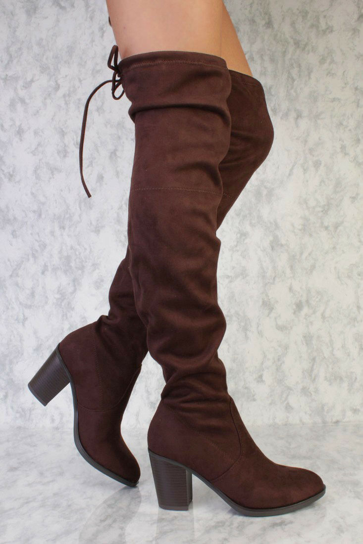 LOT CUTOUT DETAIL POINTED CLOSE TOE THIGH HIGH HEELS HEELS HEELS BOOTS FAUX SUEDE LEATHER f2cbfd
