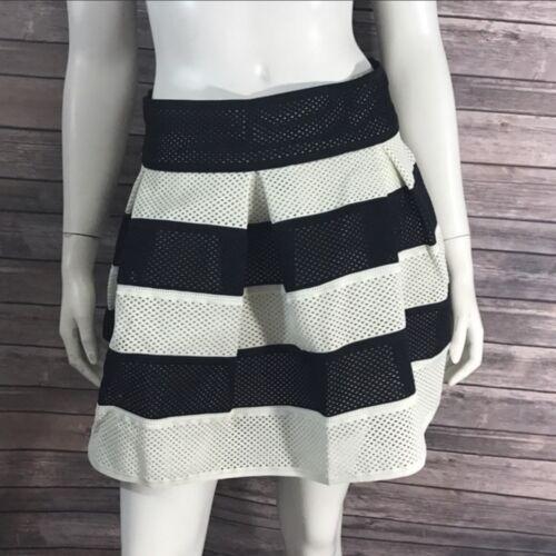 Umgee Womens Skirt Black White Striped Pleated Mini