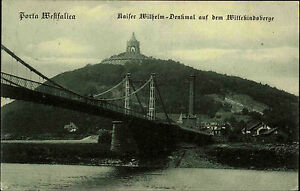 Porta-Westfalica-1910-Kaiser-Wilhelm-Denkmal-Wittekindberg-Bruecke-Fluss-Bauwerk