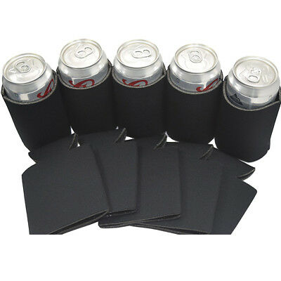 Neoprene Zipper Beer Sleeve Insulated Cover Coozy for 330ml Soda Can Black