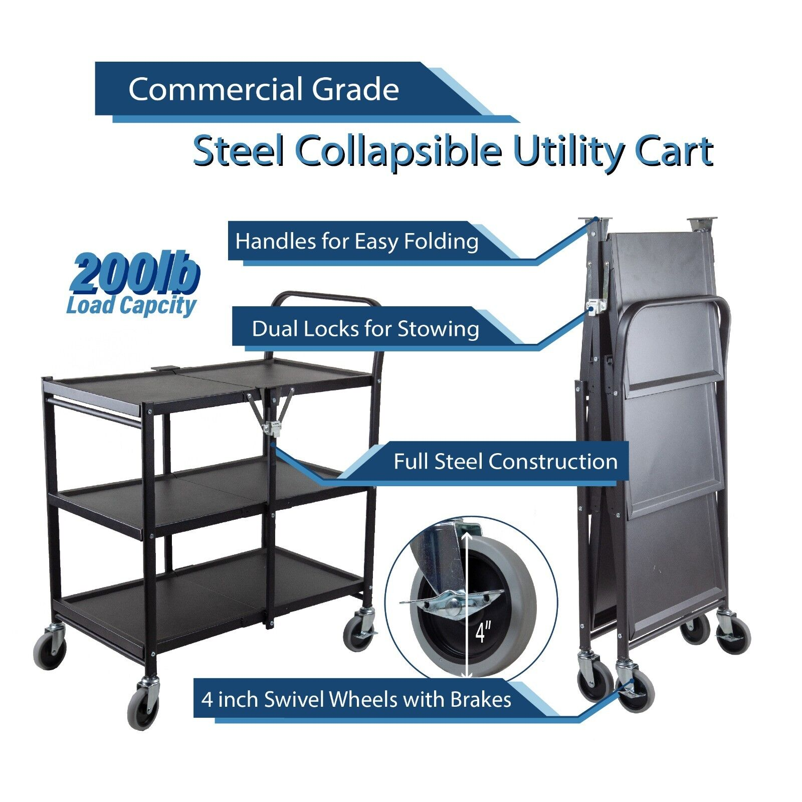 3 Tier Heavy Duty Metal Foldable Commercial Grade Utility Cart with Wheels