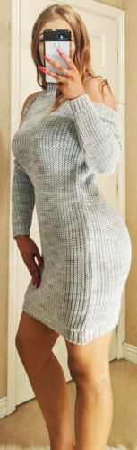 Cold Shoulder Jumper Grey Womens Sweater Top Pullover Knitted Ladies Knitwear ❤