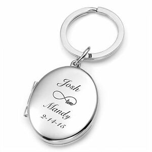 PERSONALIZED OVAL PICTURE FRAME LOCKET KEYCHAIN CUSTOM ENGRAVED FREE
