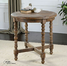 "TIME WORN RECLAIMED FIR WOOD 26"" ROUND ACCENT END SIDE TABLE HAND TURNED LEGS"