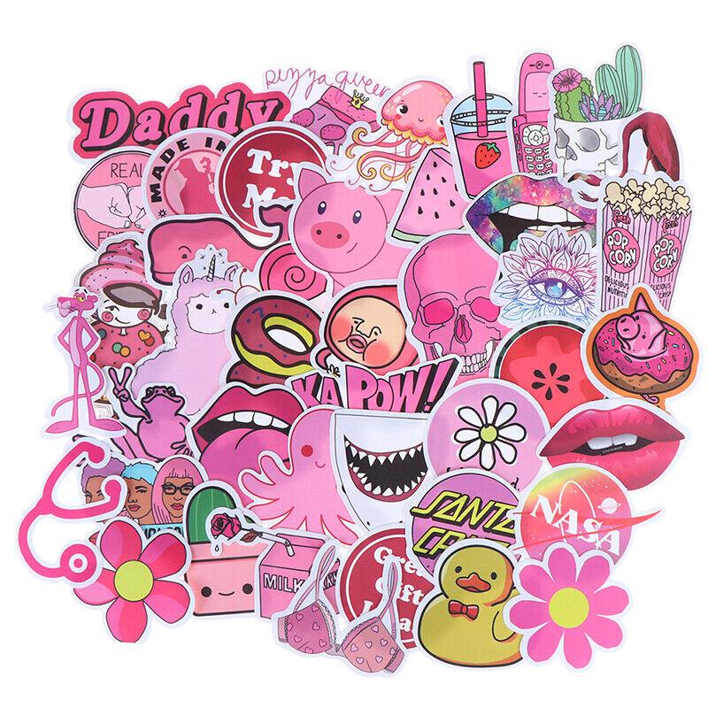 50Pcs Kawaii Pink Fun Girls Stickers Toys Guitar Car Suitcase Laptop Decals/_vi