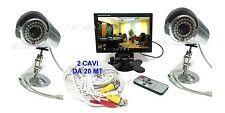 """KIT VIDEOSORVEGLIANZA CON MONITOR LCD 7"""" + 2 TELECAMERE INFRAROSSI 2 CAVI 20 MT"""