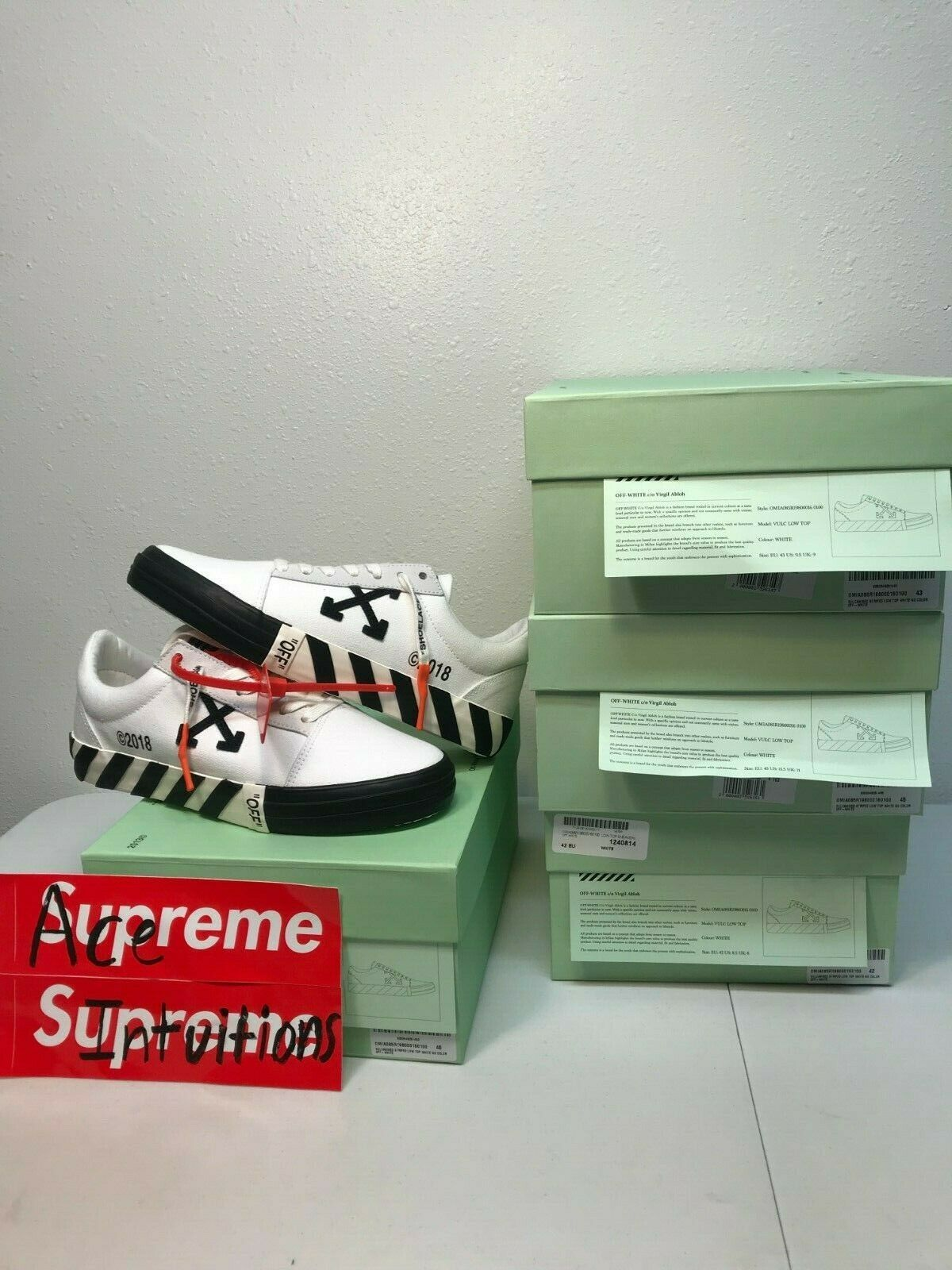 Off White Vulc Low Top Virgil Abloh White Size 40-45 US Size 6.5-11.5 Brand New