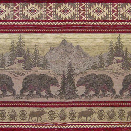 BEAR RUN SAND UPHOLSTERY BEAR FABRIC MOUNTAIN LODGE CABIN RUSTIC BEARS TAPESTRY