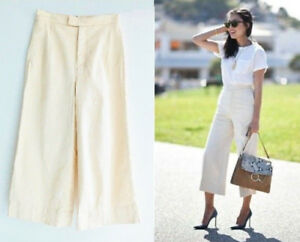 ZARA-BEIGE-HIGH-WAIST-COTTON-CULOTTES-CROPPED-TROUSERS-PANTS-XS-S