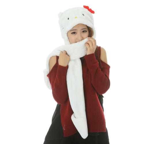Soft Plush Ladies Kids Teens Wild Animal Hat with Hood Scarf Long Mittens Pocket