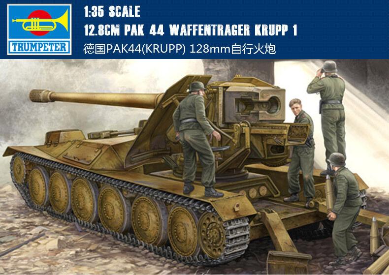 Trumpeter 1 35 05523 German German German 12.8cm PAK 44 Waffentrager Krupp 1 Model Kit fd666b