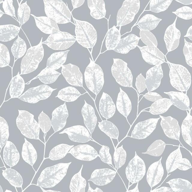 Rasch Floral Leaf Pattern Wallpaper Modern Metallic Silver Leaves Extraordinary Grey Pattern Wallpaper
