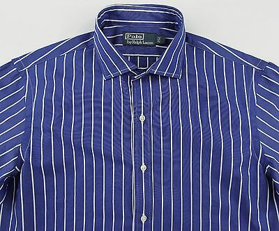Men's POLO RALPH LAUREN Blue White Striped Shirt Small S NWT NEW Spread Collar
