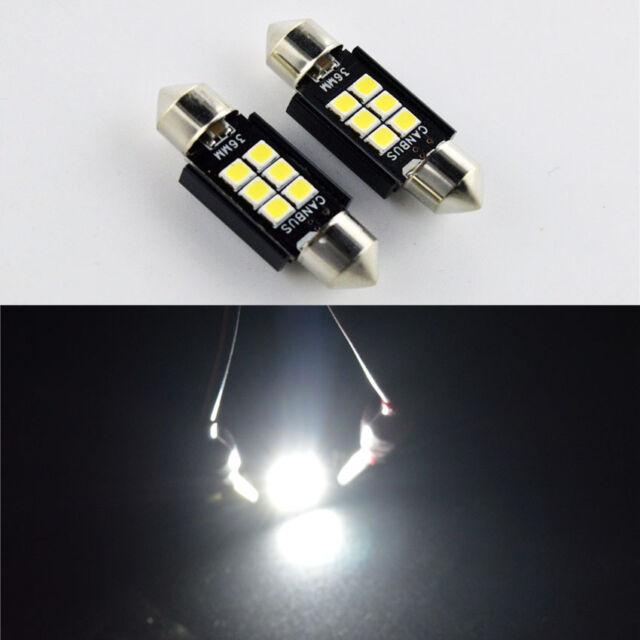 2x Canbus 36mm 12V LED 3030 480lm Festoon Number Plate Bulbs Light Xenon White