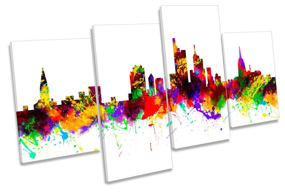 Frankfurt Stadt Germany Skyline MULTI CANVAS Wand Kunst Framed Panel