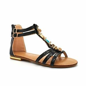 2375415e0be0cc Details about Kids Girls Children Summer Gladiator Diamante Zip Flat Sandals  Shoes Strappy New