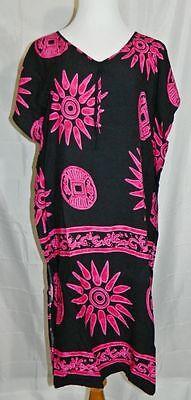 Hawaiian Dress Sleeveless Shift Black Pink Fuchsia size Small Medium Vintage