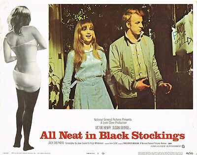 ALL NEAT IN BLACK STOCKINGS ORIGINAL 11X14 LOBBY CARD SUSAN GEORGE VICTOR HENRY