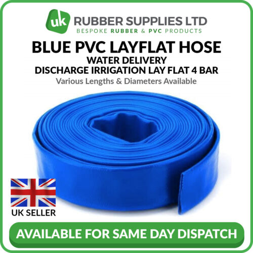 Blue PVC Layflat Hose Water Delivery Discharge Pipe Lay Flat Irrigation NEXT DAY