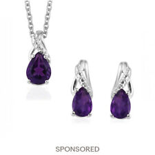 925 Sterling Silver Amethyst Dangle Drop Earrings Chain Pendant Necklace Set 20""