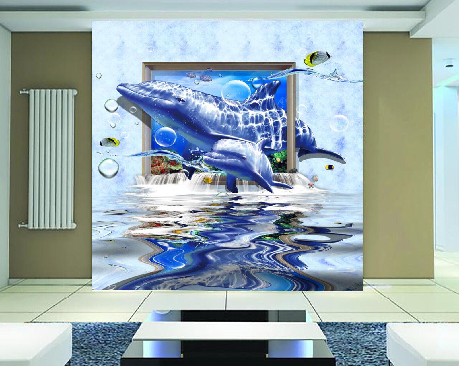 3D Dolphin Ocean  75 Wall Paper Murals Wall Print Wall Wallpaper Mural AU Summer