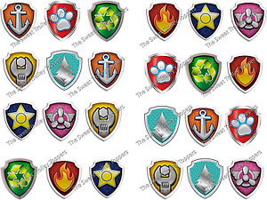 24 Paw Patrol Logo Shield Badge Edible Rice Paper Birthday ...