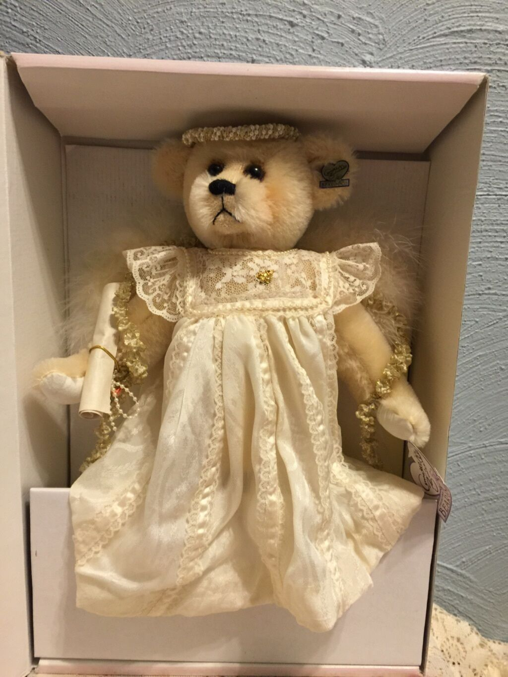 Annette divertimentoicello Celeste Angel Ivory Mohair orso Mint  Never Never Never displayed  1995  1788b9