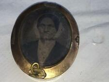 Antique Victorian Mourning Jewelry Locket Real Human Hair Tin Type Gold Filled