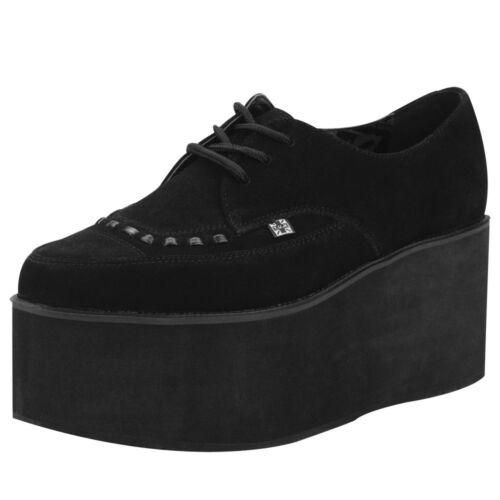 T.U.K A8666 TUK Chaussures Femmes empilés en Daim Noir Pointu creepers S Haute