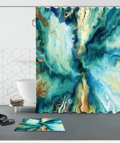 Abstract Water Waterproof Bathroom Home Decor Shower Curtain /&Mat /&Hook 60//72/""