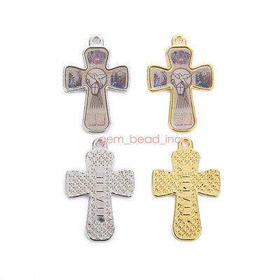 10Pcs Holy Catholic Religious Crosses Enamel Medals Charms  Pendants 38mm